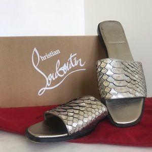 Christian Louboutin silver snake metallic slides